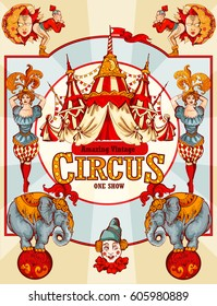 Amazing Vintage Circus Show Detailed poster. Colored Sketch composition. Circus red and white Circus  Tent vector hand-drawn illustration. Retro style poster template.