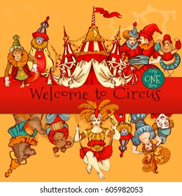 Amazing Vintage Circus Show Detailed poster. Colored Sketch composition. Circus red and white Circus  Tent vector hand-drawn illustration.