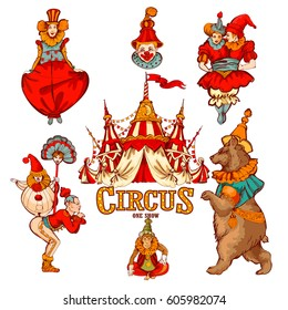 Amazing Vintage Circus Show set. Colored Sketch composition. Circus red and white Circus  Tent vector hand-drawn illustration. Animals,clowns,acrobats