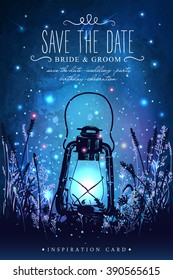Amazing vintage lantern on grass with magical lights of fireflies at night sky background. Unusual vector illustration. Inspiration card for wedding, date, birthday, tea or garden party