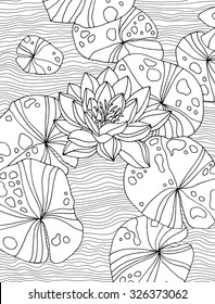 Amazing waterlilies, forest wild plant, lotus pond, zen garden. Lines texture. Vector. Hand drawn artwork. Bohemia concept for branding, logo, label. Coloring book page for adult. Black and white