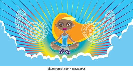 Amazing woman meditating in the rainbow sky vector - blue clouds and retro sunburst background. Tanned blonde young woman practice yoga. Positive motivational banner, poster, web design element.