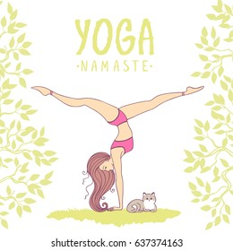Amazing woman practicing yoga with cat. Handstand. Vector illustration