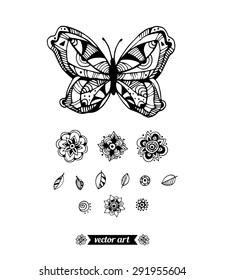 Amazing wonderland fly butterfly, flowers, plant. Vector. Set collection. Creative bohemia concept for wedding invitations, cards, tickets, congratulations, branding, logo, label. black and white