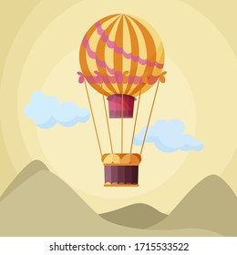 Amazing yellow balloon floating in the sky among clouds and mountains. Vector illustration of a colorful aerostat.