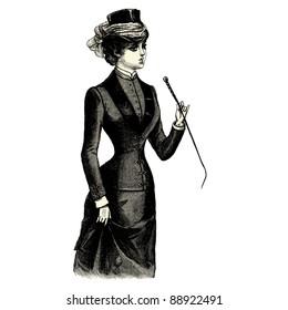 "Amazon - Vintage engraved illustration - ""La mode illustree"" by Firmin-Didot et Cie in 1882 France"