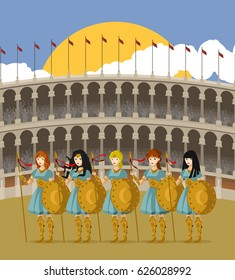 amazon warriors female women standing on coliseum arena