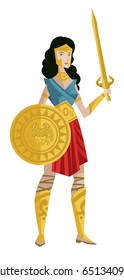 amazon woman warrior with shield and sword