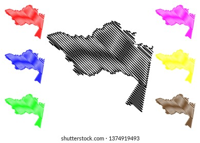 Amazonas Department (Colombia, Republic of Colombia, Departments of Colombia) map vector illustration, scribble sketch Amazonas map
