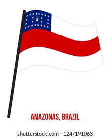 Amazonas Flag Waving Vector Illustration on White Background. States Flag of Brazil.