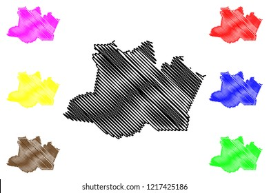 Amazonas (Region of Brazil, Federated state, Federative Republic of Brazil) map vector illustration, scribble sketch Amazonas (Brazilian state) map