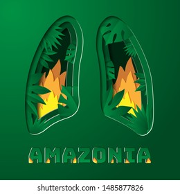 Amazonia rainforest in Brazil is burning . the  lung of the world .  deforestation , environment and ecology . paper style vector illustration .