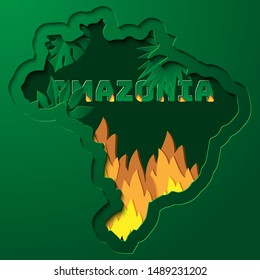 Amazonia rainforest in Brazil is burning . the  lung of the world .  deforestation , environment and ecology . brazil map shape , paper style vector illustration .