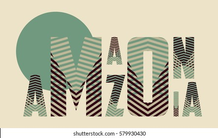 Amazonia title poster with striped pattern in green and brown shades