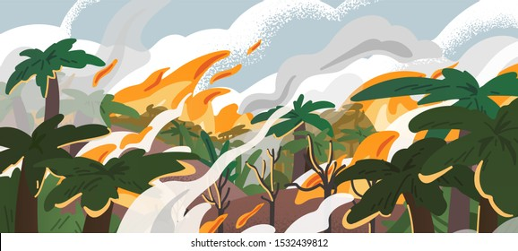 Amazonian forest fire panorama flat vector illustration. Tropical environment destruction, natural disaster, deforestation problem. Burning amazonia woods, ecological catastrophe, landscape in smoke.