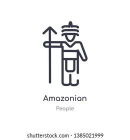 amazonian outline icon. isolated line vector illustration from people collection. editable thin stroke amazonian icon on white background