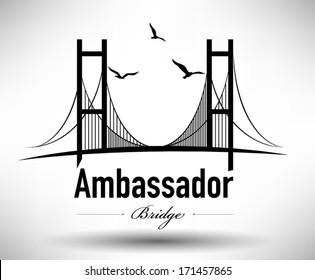Ambassador Bridge Typographic Design