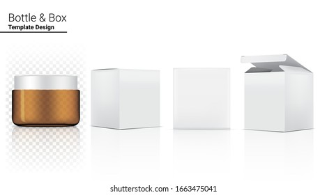 Amber Bottle Jar Transparent Mock up Realistic Cosmetic and Box for Skincare Product or medicine on White Background Illustration. Health Care and Medical Concept Design.