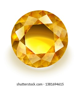 Amber colored sparkling diamond - round yellow sapphire illustration