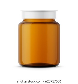 Amber glass medicine bottle with white snap lid for medicine, tablets, pills. Realistic packaging mockup template. Front view. Vector illustration.
