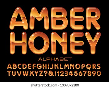 Amber Honey alphabet is a rounded sans serif font with a 3d transparent honey effect