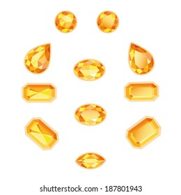 Amber and topaz different cut. Bright sunny gems on a white background. Isolated Objects