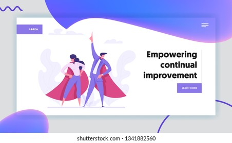 Ambition Business Success Concept with Superheroes Business People Characters. Motivational Banner with Proud Woman and Man Lead Pointing Hand up Graph for Website, Web Page. Flat Vector Illustration