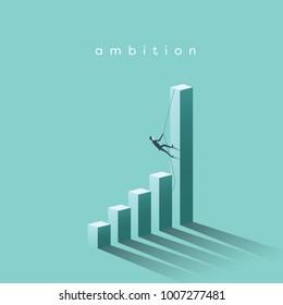 Ambition vector concept with businessman climbing on graph columns. Success, achievment, motivation business symbol. Eps10 vector illustration