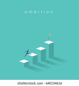 Ambition vector concept with businessman jump on graph columns. Success, achievment, motivation business symbol. Eps10 vector illustration.