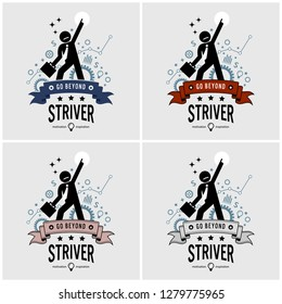 Ambitious businessman aiming high logo design. Vector artwork of an entrepreneur striving for success with motivational and inspirational pose. He point his finger to the top and above.
