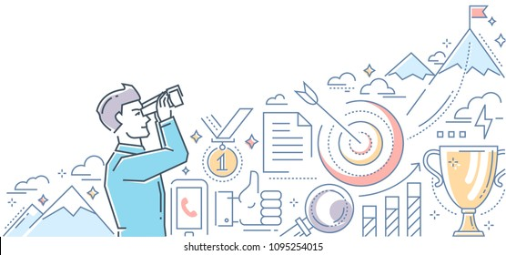 Ambitious goals - line design style illustration on white background. Colorful composition with a businessman looking through a binocular at the mountain top with a flag. Images of target, cup, medal