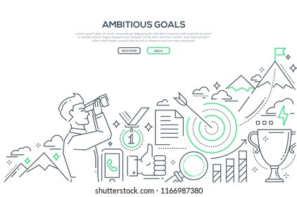 Ambitious goals - line design style illustration on white background with place for your text. Banner with a businessman looking through a binocular at the mountain top with a flag. Target, cup, medal