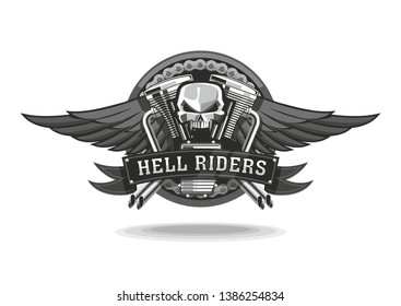 Amblem for bikers with skull, wings and motorcycle engine.