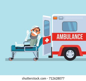 Ambulance car and broken victim man character. Vector flat cartoon illustration