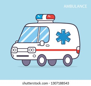 Ambulance car cartoon icon