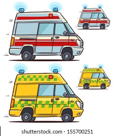 Ambulance car. Cartoon illustration