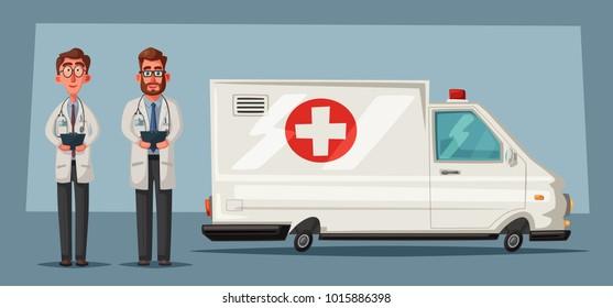 Ambulance car. Cartoon vector illustration
