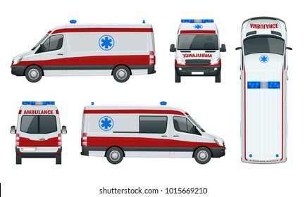 Ambulance Car. An emergency medical service, administering emergency care to those with acute medical problems. Side view, top, roof, rear, front. Vector illustration