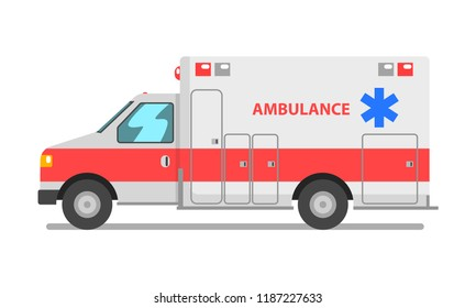 Ambulance car, emergency medical service vehicle vector Illustration on a white background