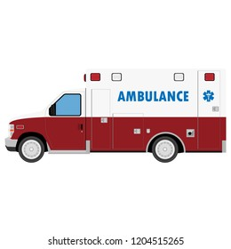 Ambulance Car. An emergency medical service, administering emergency care to those with acute medical problems. Side view. Vector illustration