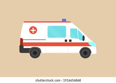 Ambulance car. Emergency medical service vehicle. Hospital car. Flat design. Ambulance icon. Stock vector illustration on isolated background.