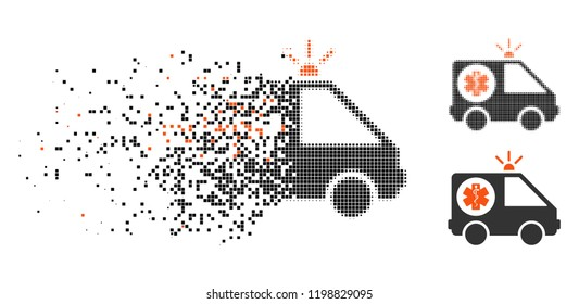 Ambulance car icon in disappearing, pixelated halftone and undamaged entire variants. Pieces are arranged into vector disappearing ambulance car form. Disappearing effect uses square points.