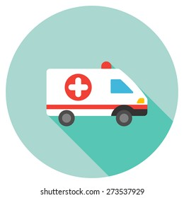 Ambulance car icon. Flat round button with long shadow.