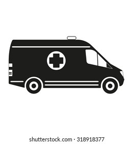Ambulance car icon or sign isolated on white background. Vector illustration.