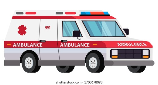 Ambulance car isolated on white background. Special medical vehicle. Hospital transport for emergency help and first aid service. Urgency healthcare. Van for paramedic team transportation