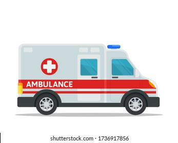 Ambulance car, isolated on white background, flat design element, cartoon style, side view. White van car with red lines and cross, blue siren on roof top.