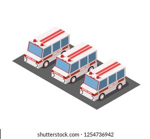 Ambulance car isometric avto van bus paramedic