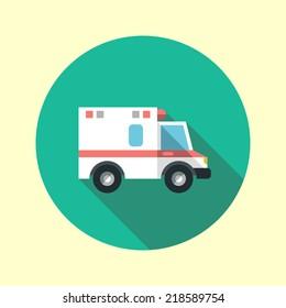 Ambulance car long shadow flat design icon. Vector illustration.