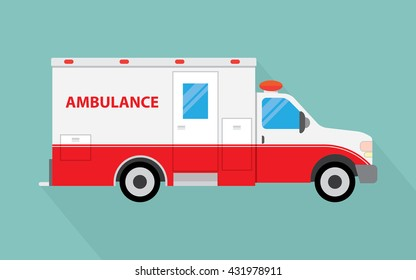 Ambulance car long shadow flat design icon. Vector illustration.