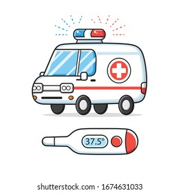 Ambulance car and medical digital thermometer with flu or COVID-19 coronavirus fever temperature, diagnostics and emergency hospitalization cartoon vector illustration.